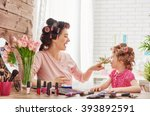 happy loving family. mother and ... | Shutterstock . vector #393892591