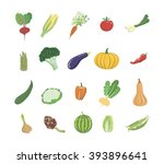 vegetables colored icons | Shutterstock .eps vector #393896641