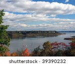 Lake pepin on Mississippi river at fall season, frontenac state park