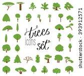 Flat Icon Set Of Tree Species....