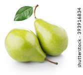 two ripe pears on white... | Shutterstock . vector #393916834