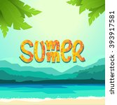 summer background with sea ... | Shutterstock .eps vector #393917581