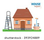 house repair. ladder with tools ... | Shutterstock .eps vector #393924889