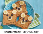 funny bear face sandwich with... | Shutterstock . vector #393933589