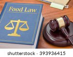 a law book with a gavel   food... | Shutterstock . vector #393936415