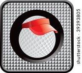 golf ball with visor on silver... | Shutterstock .eps vector #39393805
