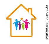 family logo concept. happy... | Shutterstock . vector #393939655