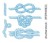 set of engraved knots and ropes ... | Shutterstock .eps vector #393944821