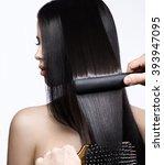 beautiful brunette girl with a... | Shutterstock . vector #393947095