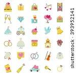 wedding icons set  | Shutterstock .eps vector #393952141