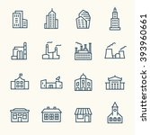 buildings line icons | Shutterstock .eps vector #393960661