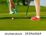 golf hit on green | Shutterstock . vector #393964069