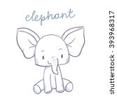 sketch cartoon elephant with... | Shutterstock .eps vector #393968317