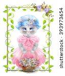 portrait of the vintage cat ... | Shutterstock .eps vector #393973654