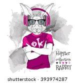 illustration of rabbit hipster...   Shutterstock .eps vector #393974287