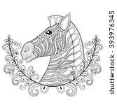 Zebra In Floral Frame. Vector...