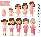 set of characters in a flat... | Shutterstock .eps vector #393993865