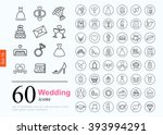 Set of wedding icons for web or services. 60 design honeymoon line icons high quality, vector illustration. | Shutterstock vector #393994291