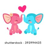 elephant couple with heart.... | Shutterstock .eps vector #393994435