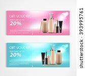 gift voucher cosmetics lotion... | Shutterstock .eps vector #393995761