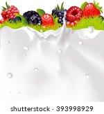 milk splash background  fruit... | Shutterstock .eps vector #393998929