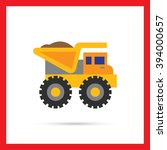 yellow loaded dump truck | Shutterstock .eps vector #394000657