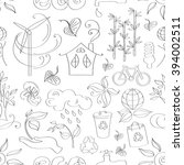 ecology concept. doodle pattern ... | Shutterstock . vector #394002511