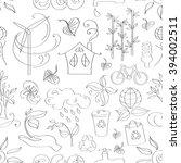 ecology concept. doodle pattern ... | Shutterstock . vector #394002511