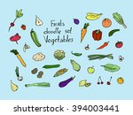 colored fruits and vegetables... | Shutterstock . vector #394003441