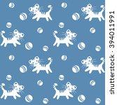 funny kitten and balls.... | Shutterstock .eps vector #394011991