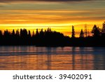 Winter Lakeside Sunset View In...