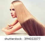 beautiful blonde woman with...   Shutterstock . vector #394022077