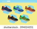 colorful running shoes vector... | Shutterstock .eps vector #394024351