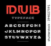 wide font. vector alphabet with ... | Shutterstock .eps vector #394027591