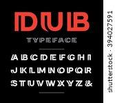 wide font. vector alphabet with ... | Shutterstock .eps vector #394027591