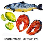 sea set.salmon steak  red fish... | Shutterstock . vector #394034191