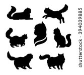 Stock vector persian cat icons and silhouettes jumping running sitting lying standing going cat set of vector 394039885