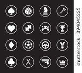 white flat game icon set with...