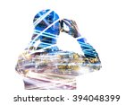 double exposure of man using... | Shutterstock . vector #394048399