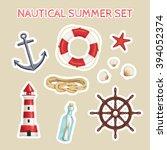 nautical summer collection icon ... | Shutterstock . vector #394052374