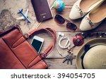 travel accessories costumes.... | Shutterstock . vector #394054705
