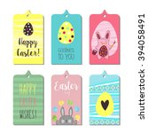 set of holiday labels  happy... | Shutterstock .eps vector #394058491