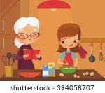 grandmother and granddaughter... | Shutterstock .eps vector #394058707