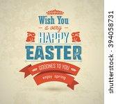happy easter big label... | Shutterstock . vector #394058731