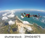 a group of skydiving friends... | Shutterstock . vector #394064875