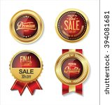 golden retro labels collection | Shutterstock .eps vector #394081681