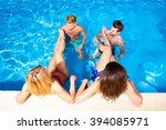 a group of young friends having ... | Shutterstock . vector #394085971