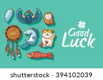 good luck. cute hand drawn card ... | Shutterstock .eps vector #394102039