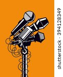music poster with microphones.... | Shutterstock .eps vector #394128349