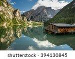 braies lake  dolomites ...   Shutterstock . vector #394130845
